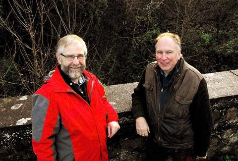 Cllrs Trevor Jones (left) and Brian Hopkinson on the bridge above the former Yate to Thornbury railway line near Tytherington