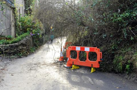 A road in Wotton-under-Edge was left blocked by debris by a landslip in November.