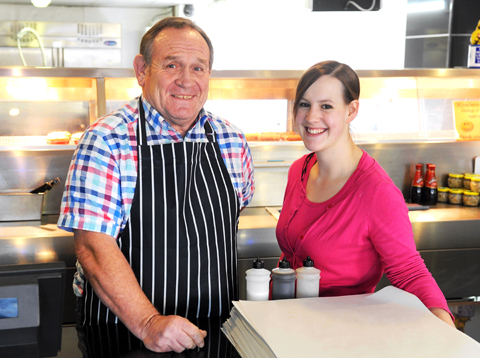 Kip Holbrook and his daughter Juki of Pisces fish and chip shop in Yate