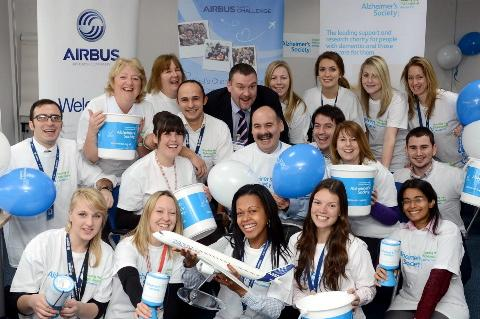 Airbus's Filton staff celebrates the launch of their new partnership with the Alzheimer's Society