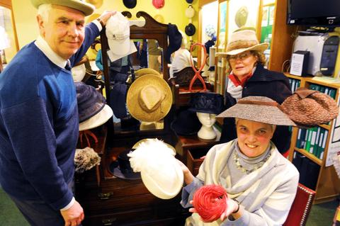 Elaine and John White with their Wotton hat exhibition