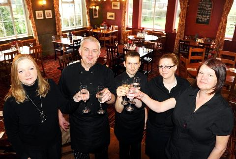 Gazette Series: Mark and Helen Janes and staff celebrate 10 years at the Codrington Arms in Yate