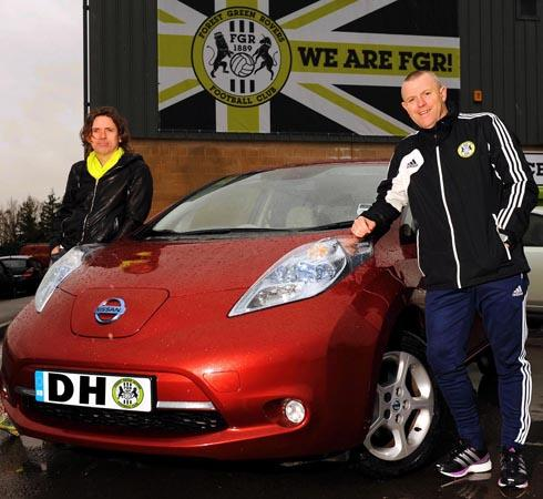 Ecotricity owner and Forest Green Rovers chairman, Dale Vince with FGR manager David Hockaday alongside his new car at the club today, Monday