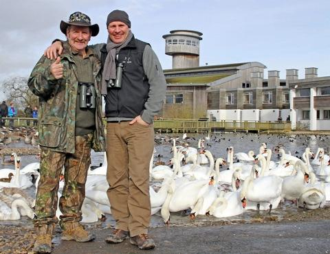 Gazette Series: Wildlife presenters Johnny Kingdom and Mike Dilger with some winged friends at WWT Slimbridge (James Lees)