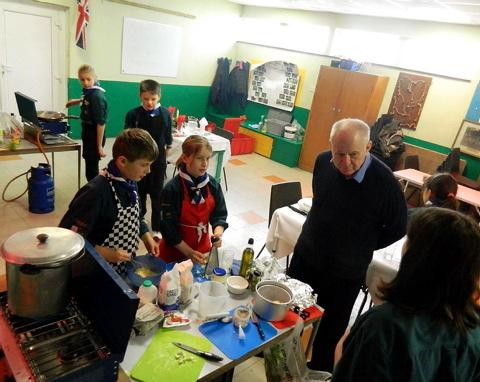 Guardian editor and food critic Matthew Fort judging the Cotswold Vale Scout cookery contest