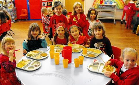 Pupils at Crossways Infant School in Thornbury celebrate the Chinese New Year