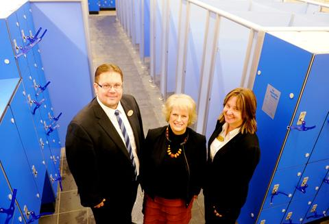 Cllr June Cordwell, Stroud District Council's executive member for community services, with Dursley Pool technical manager Darren Young and general manager Angela Gillingham in their new changing rooms