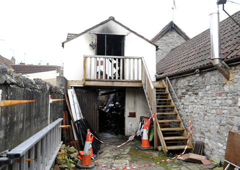 The fire at the Royal Oak Stables in Chipping Sodbury has completely destroyed a workshop owned by retired carpenter Ted Hughes