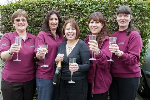 The Hammer Out team Rosemary Wormington, Joanna Ebbs, founder Tina Mitchell Skinner, Tara Beets, Steph Staton