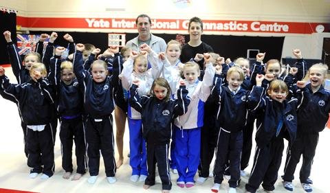 King Edmund Acrogymnastics Club director Mark Thorne and members in their new home, the Yate International Gymnastics Centre
