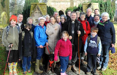 Bishop of Gloucester, the Rev Michael Perham, with parishioners during a weekend visit to the Sodbury Vale benefice