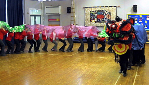 Crossways Junior School pupils in Thornbury perform a traditional Chinese dragon dance