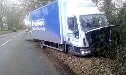The lorry after crashing into the wall on the B4058
