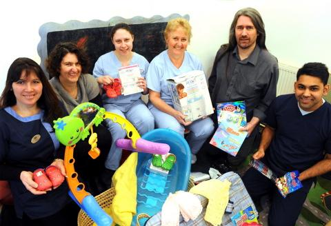 Staff at Chipping Manor with some of their donations