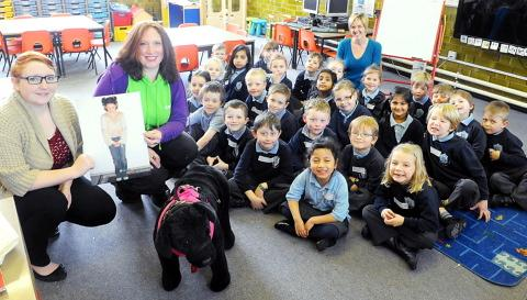 Pet behaviourist Katie Scott-Dyer, from Yate-based Very Pets, gives Hambrook Primary School pupils tips on dog safety
