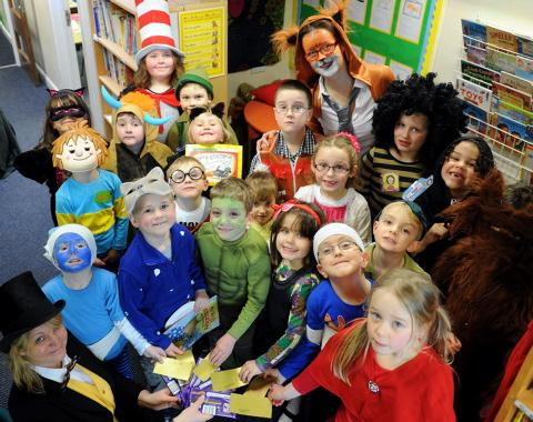 Cam Woodfield Infant School pupils dressed as favourite book characters