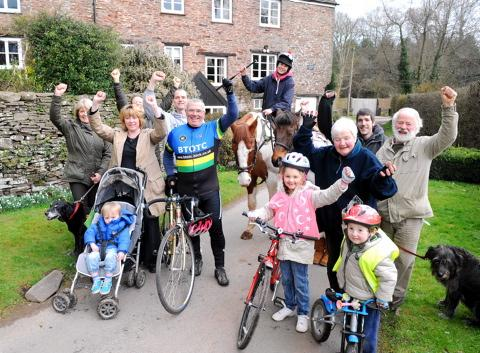 Residents of Frampton End Road in Nibley celebrate victory in gettting the road closed to traffic