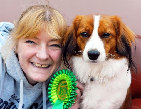 Christina Suiter of Cam with Freya who won Best Puppy in Breed at Crufts