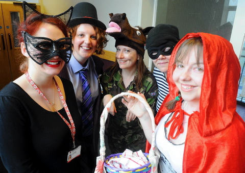 Some of the staff at Winterbourne International Academy who dressed as their favourite book characters for World Book Day
