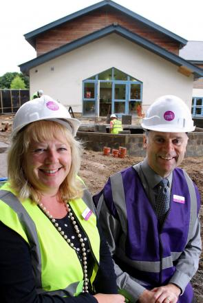 Construction begins: Corinne Godding, head of facilities, and Jules Eaton, chief executive, on the building site at Cotswold Care Hospice