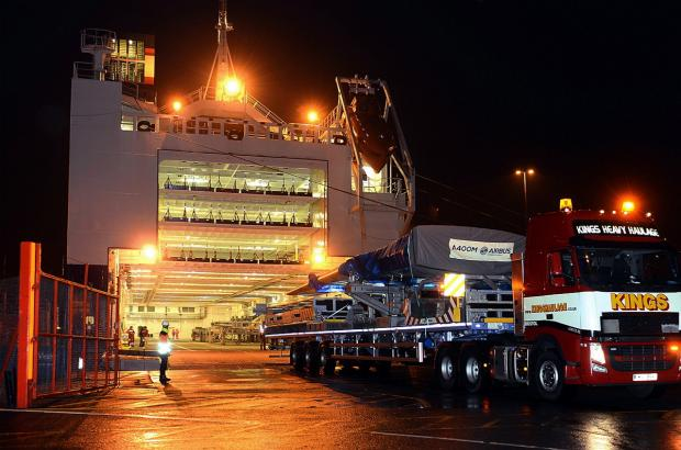 Military transporter wings being loaded onto the Airbus roll-on-roll-off ferry at Royal Portbury Docks