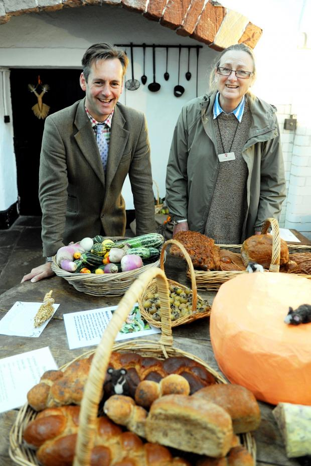Gazette Series: Charles Berkeley and Eleanor Taylor with a harvest display at Berkeley Castle