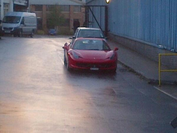 Trevor Modell's new Ferrari at Lister Petter's factory in Dursley day after 45 jobs axed
