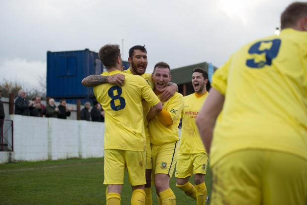 Yate celebrate scoring against Mangotsfield. Picture by Kyle Bradley