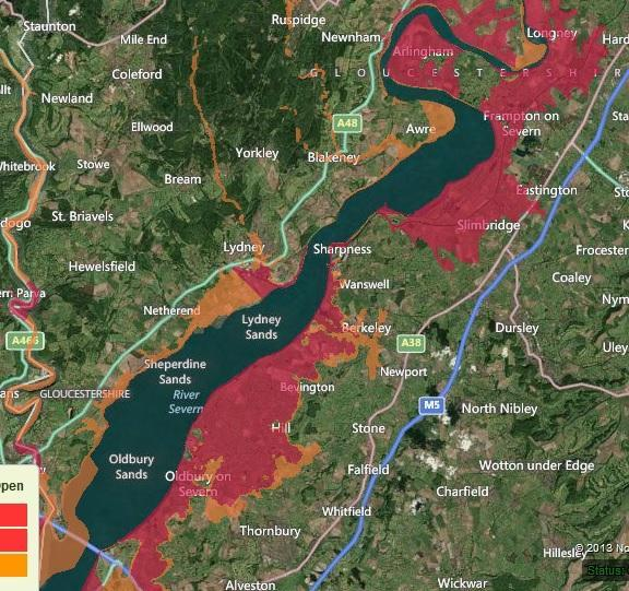 A map of the flood warnings in the area, with red areas showing the highest risk areas as of 10.15am