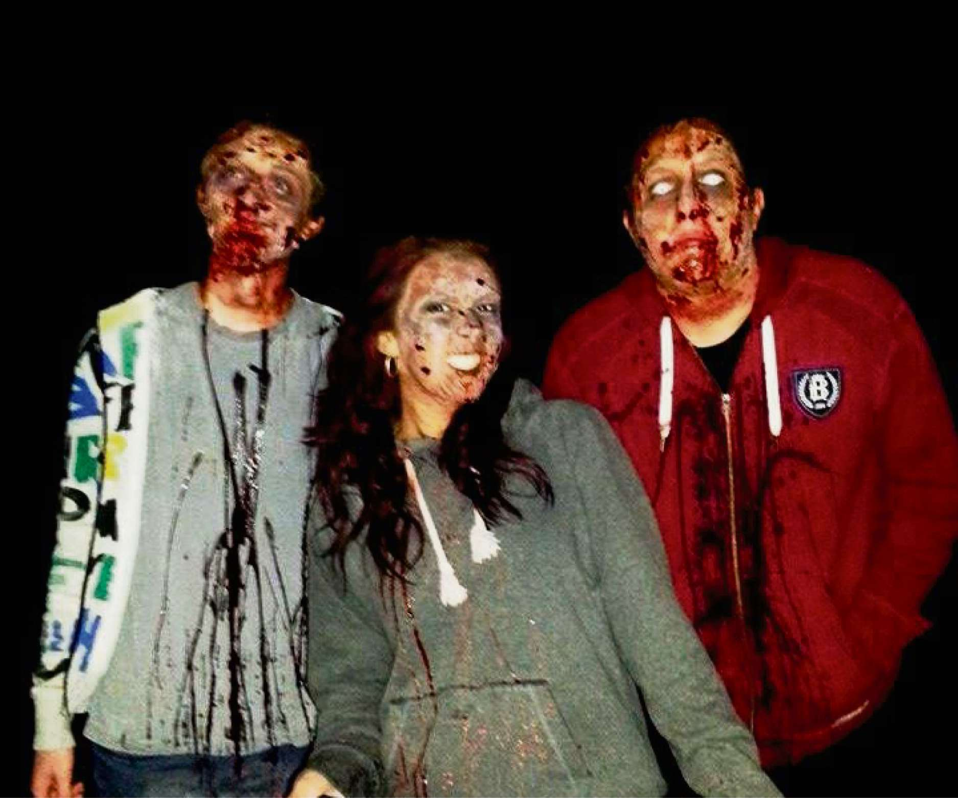 Will Arkle, Polly Barton and Giles McHugh as zombies, filming a trailer for the Infected Britain book series (3267448)