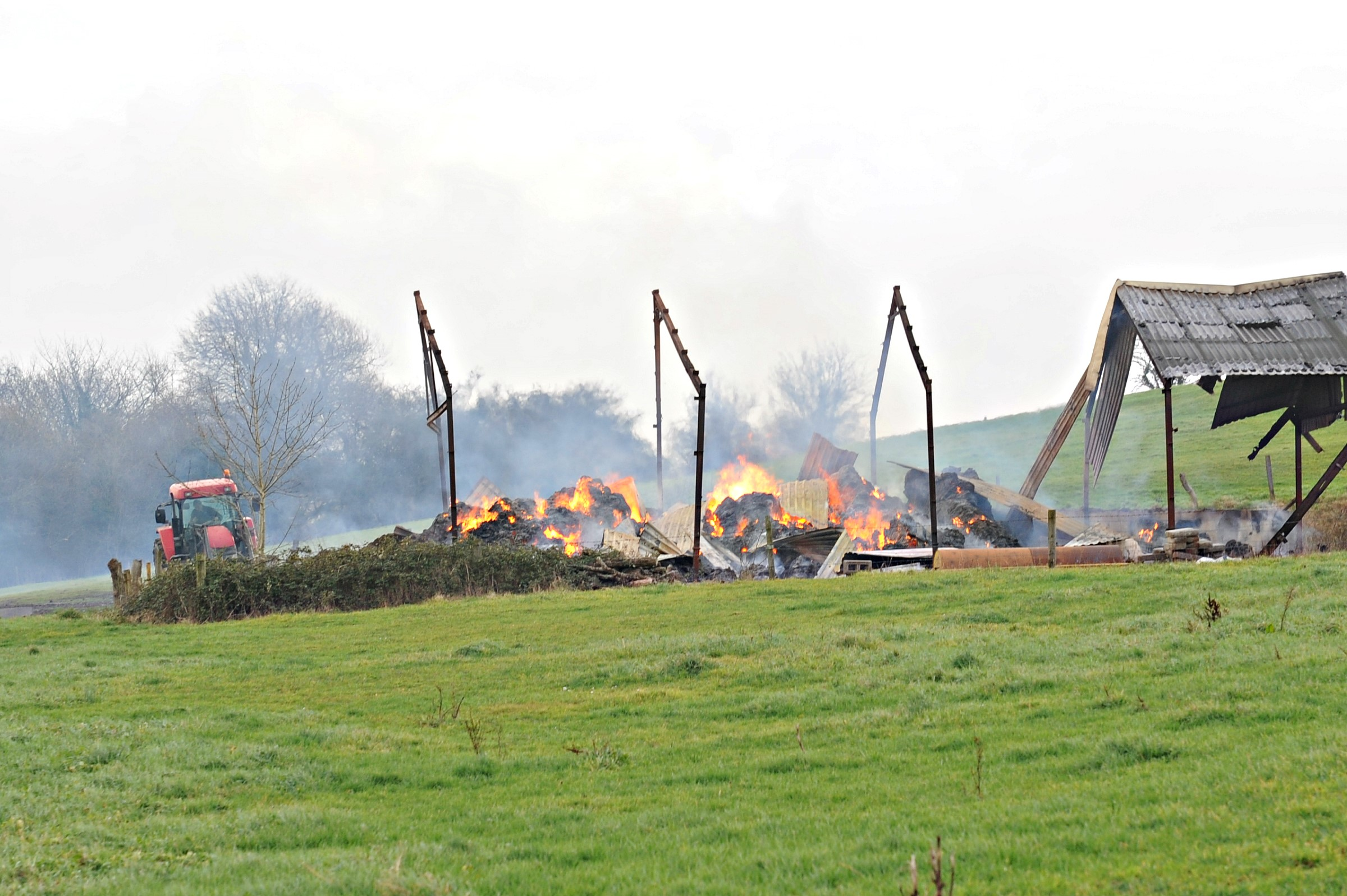 Farmer's New Year is not a happy one as barn goes up in smoke