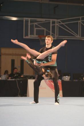 James Routley and Katie Allen in action for Harriers Sports Acrobatic Gymnastics Club