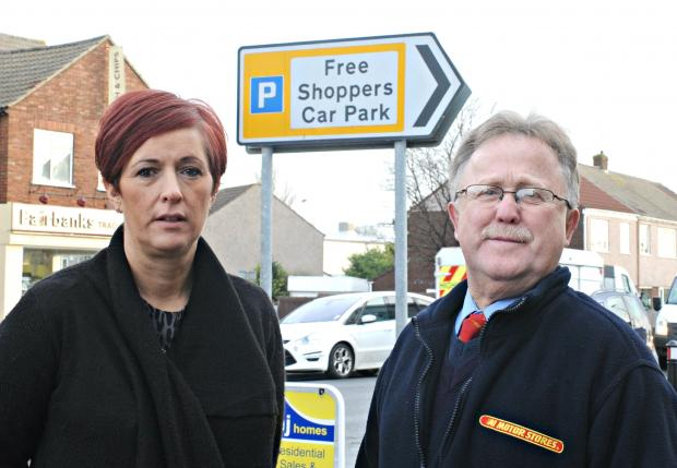 Gazette Series: Sarah Young of Spoilt, Hair and Beauty and Michael Parsons of The Motorwell unhappy at the use of afree shoppers car park in Flaxpits Lane, Winterbourne