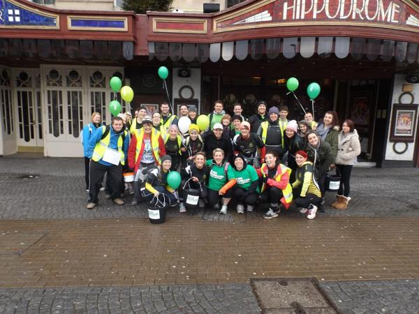 Chipping Sodbury RFC ladies start their charity walk outside the Bristol Hippodrome