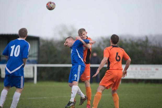 Danny Chandler scored Slimbridge's winner from the penalty spot. Picture by Kyle Bra