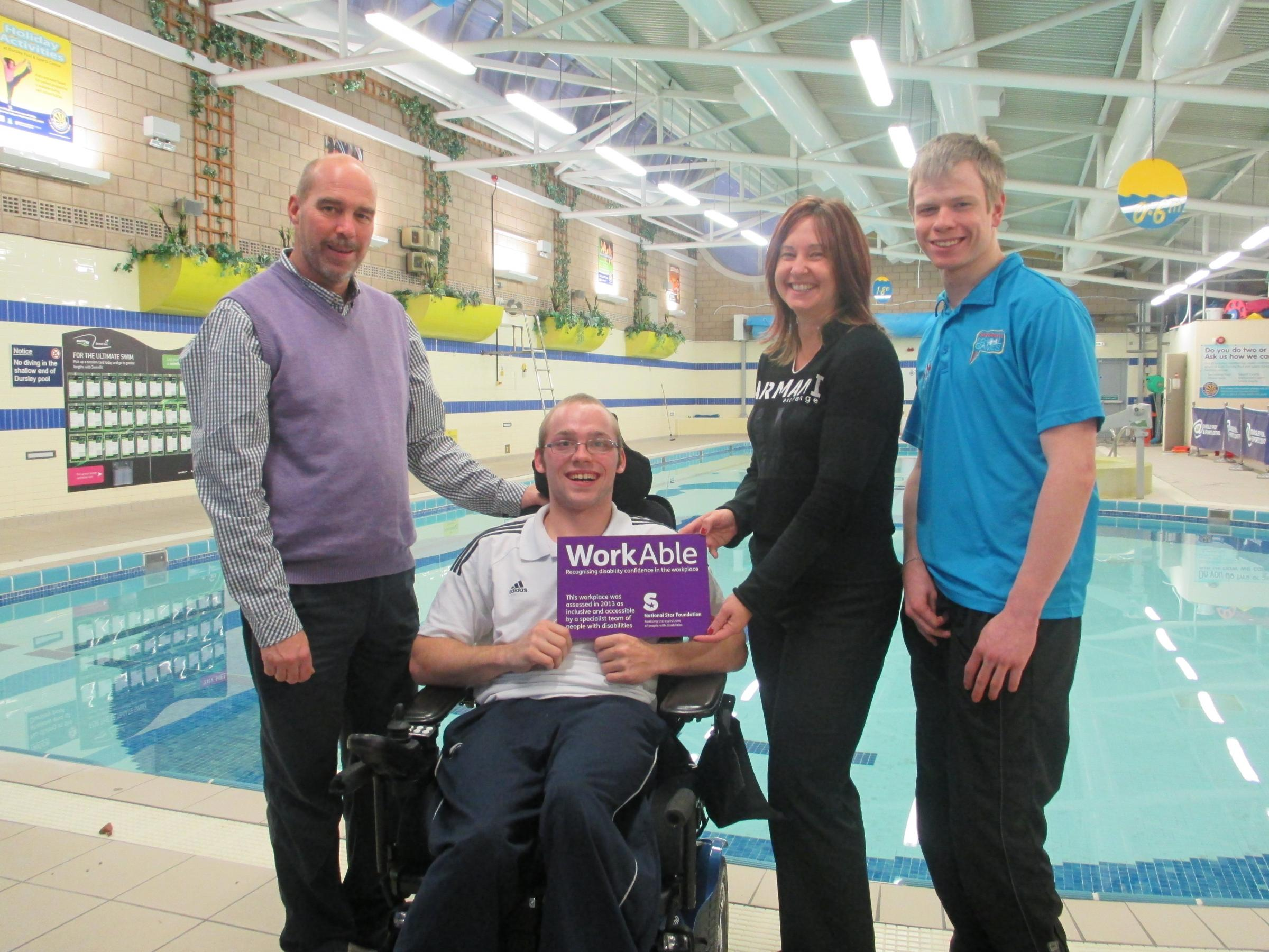 From left, Richard Brand, sports tutor from National Star College with students Jason Ward and Liam Jones, with Dursley Swimming Pool manager Angela Gillingham