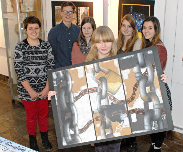 Brimsham Green School students prepare to display their art work at Yate Heritage Centre