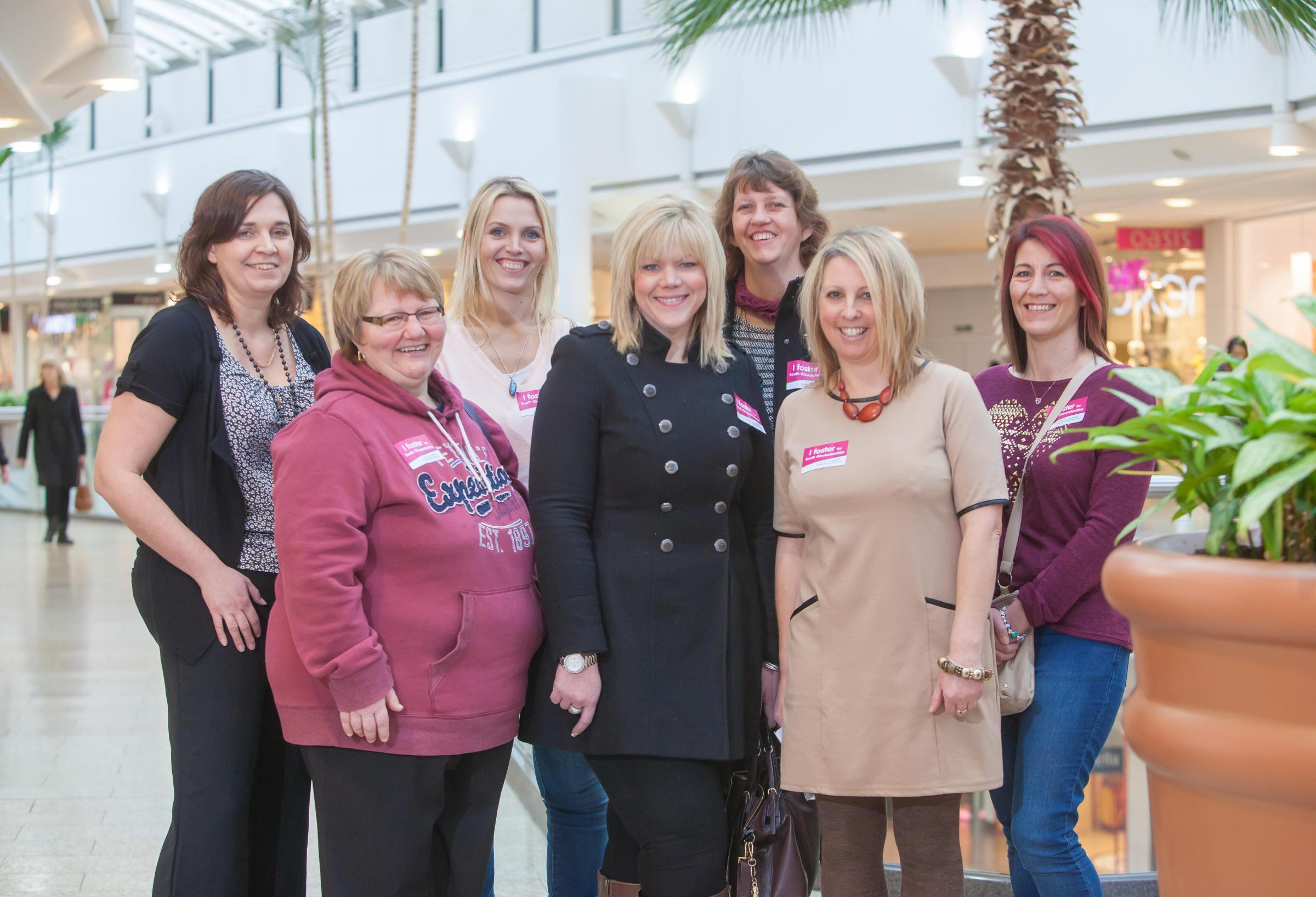 Foster carers Lucy Fullard, Sandra Smith, Kelly Bevan, Lucy Pook, Jacqueline Jarrett, Jackie Coombs and Rachael Rushent at the launch of South Gloucestershire Council's foster carer recruitment drive