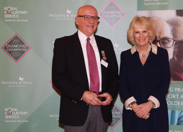 Stalwart volunteer Alan Alford with the Duchess of Cornwall