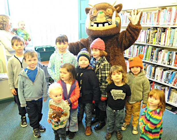 The Gruffalo with children at Chipping Sodbury