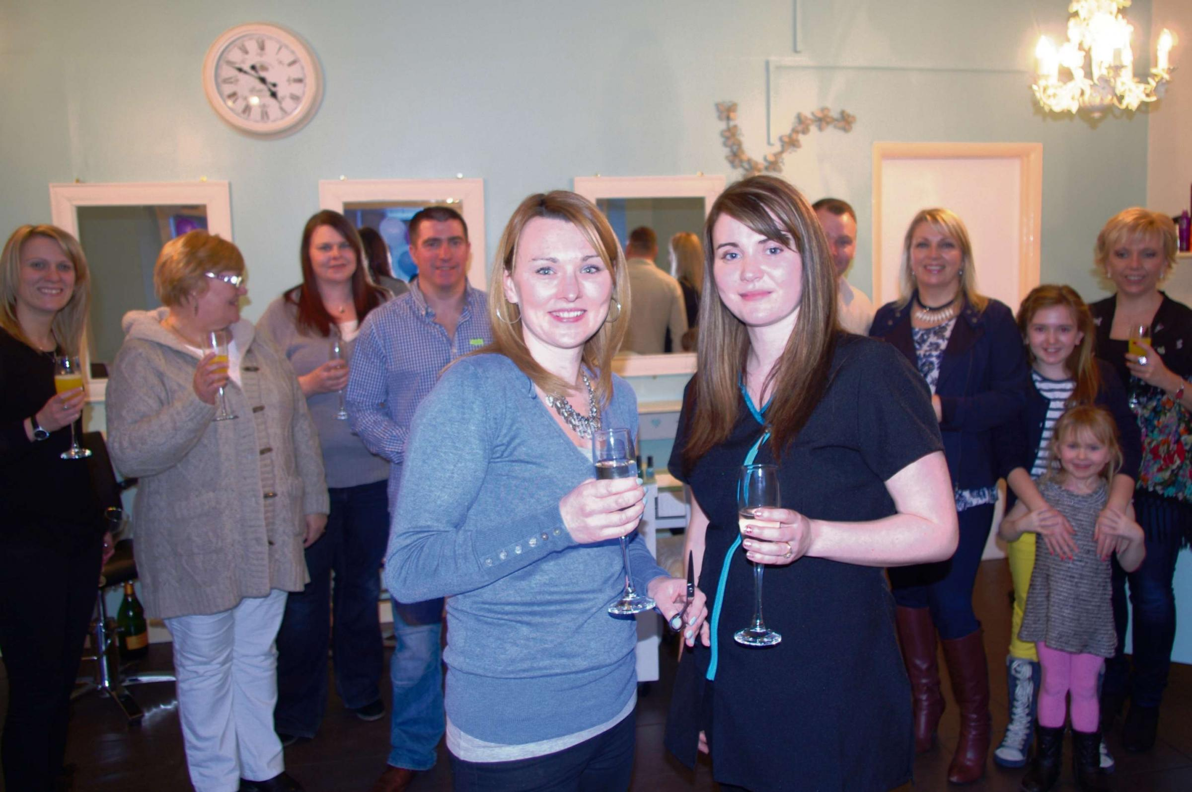 Margaret Chandler (left) and Rachael Graham at the opening of Shear Delight salon in Cam (3951530)