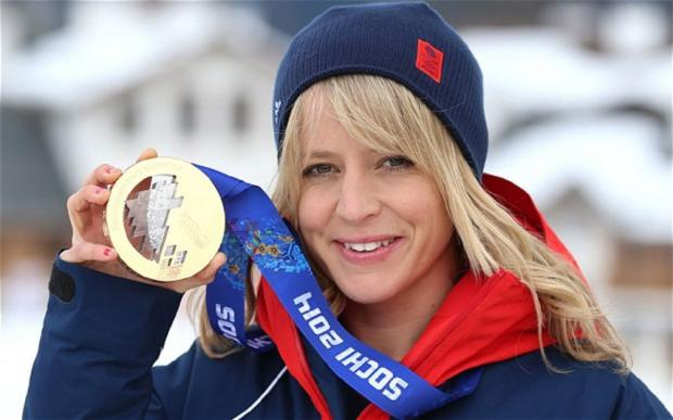 Jenny Jones with her bronze medal at the Winter Olympics in Sochi