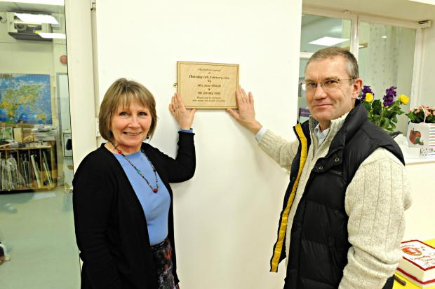 Rangeworthy head teacher Jane Hewitt and project manager Jeremy Dale unveil a plaque in the new school hall