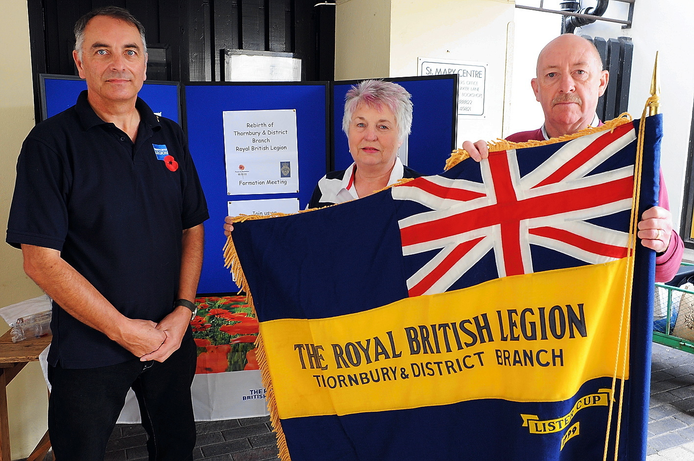 Andrew Cooper, Janice Jackson and Jeff Evans who have succeeded in setting up the British Legion again in Thornbury