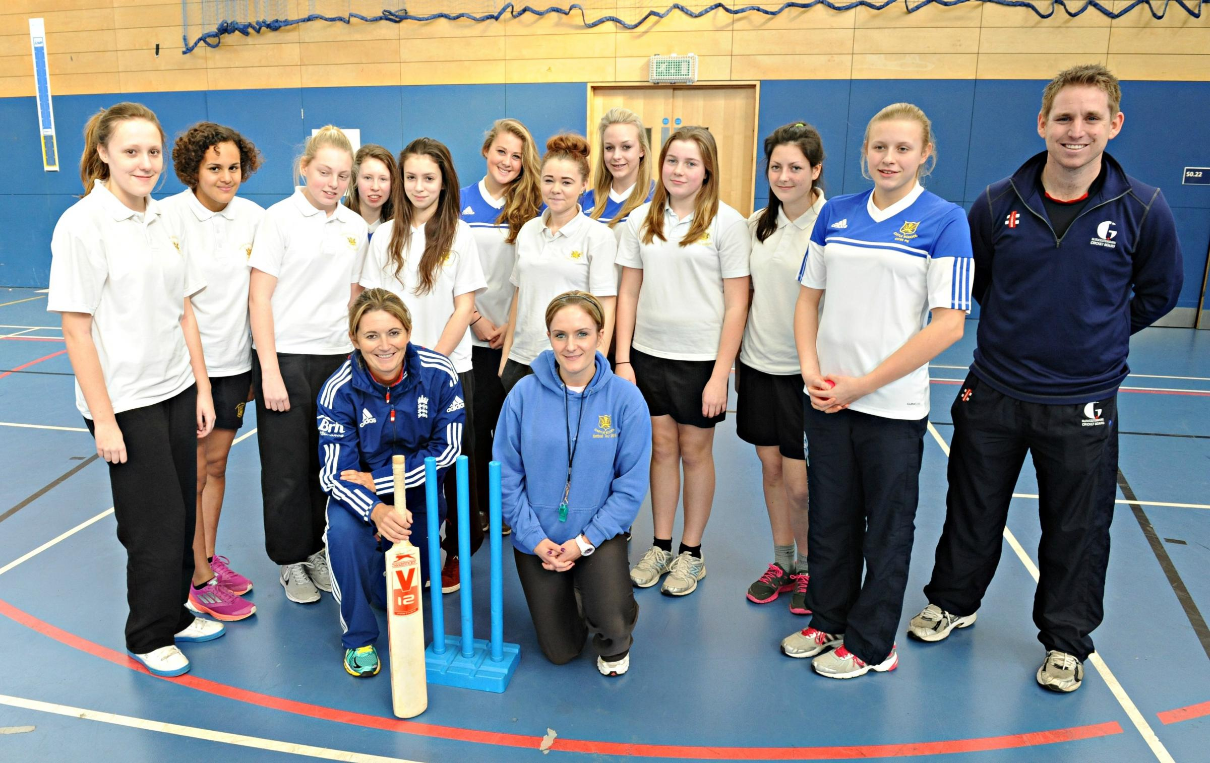 England women's cricket captain Charlotte Edwards with Castle School cricket team during the Under 15's Lady Taverners competition in Bristol (3943270)