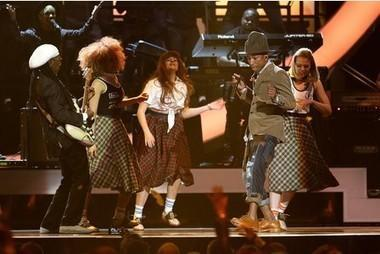 Levanna Mclean (far right) on stage with Pharrell Williams at the BRIT awards