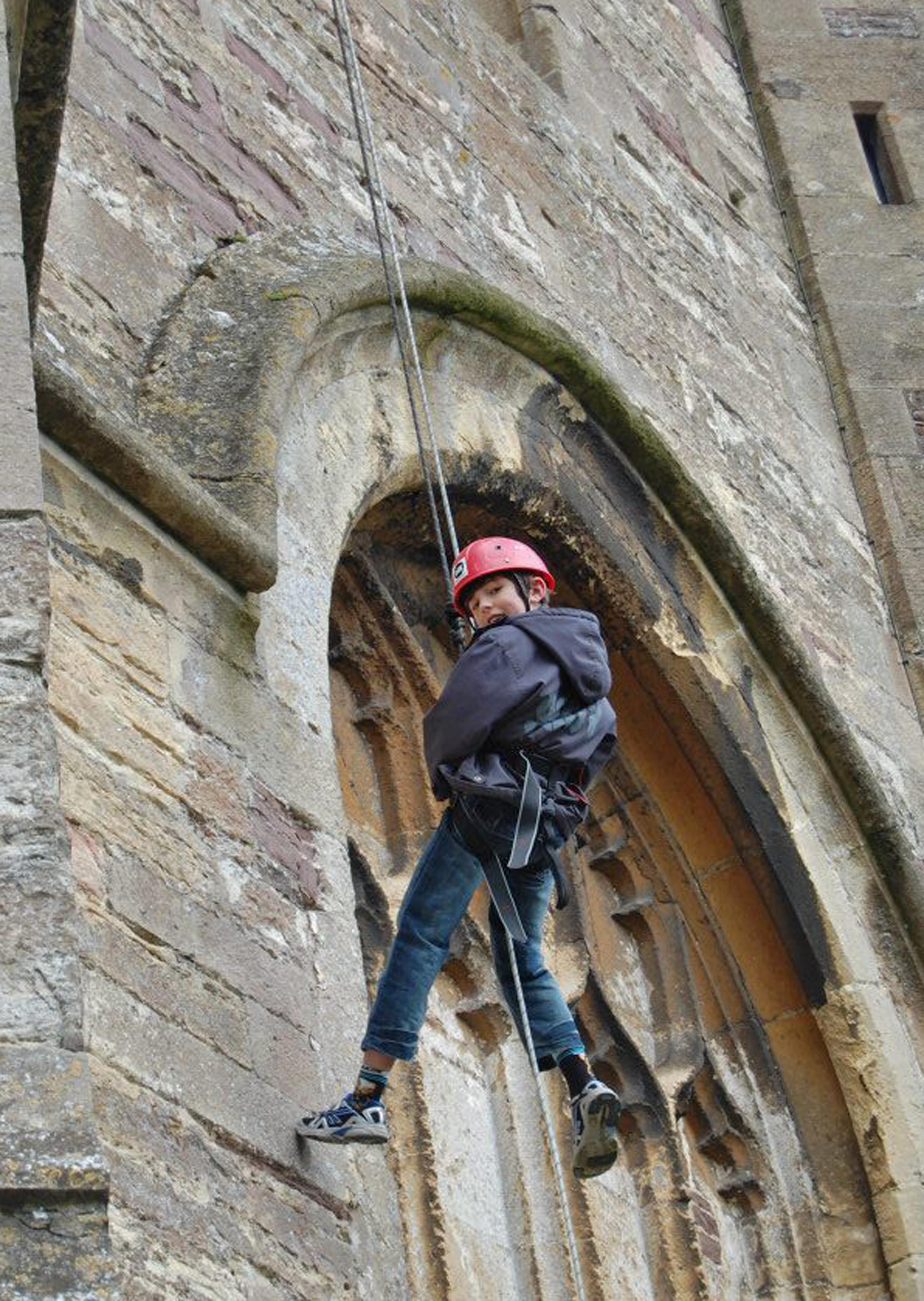 Micah Ebbs abseiling down the bell tower in Thornbury last year (4206683)