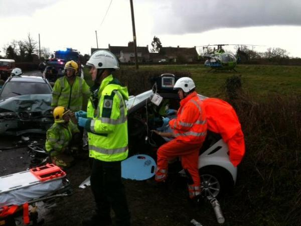 THREE people were taken to hospital after a crash on the B4509 in Tortworth, South Gloucestershire on Thursday afternoon (February 27)