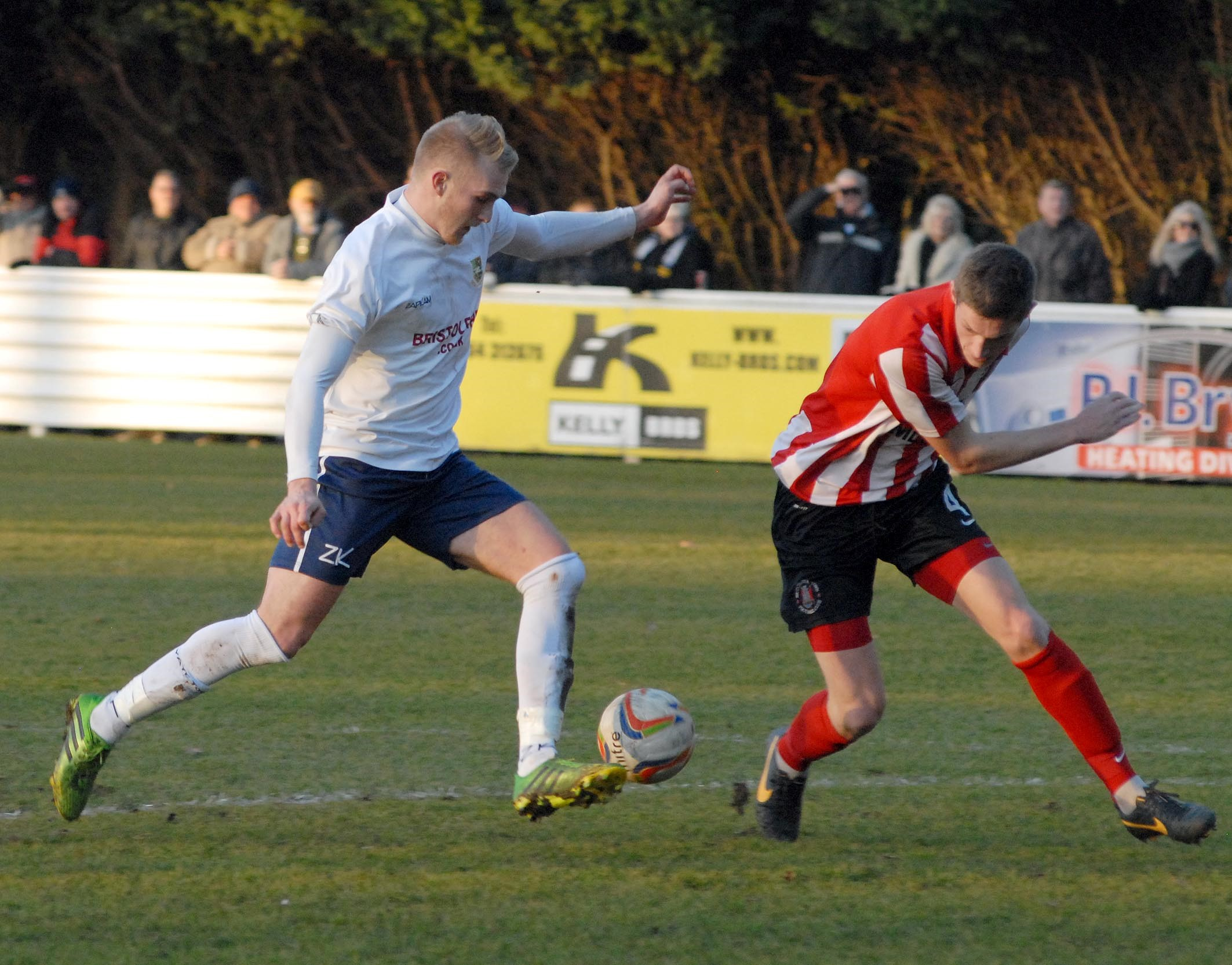 Jordan Rogers scored twice for Yate Town against Evesham United