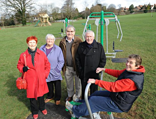 Wendy Reynolds with Thornbury Town councillors, Mayor Pam Shipp, Clive Parkinson, Bob Griffin and Helen Harrison and the new exercise equipment on Mundy Playing Fields (4435675)